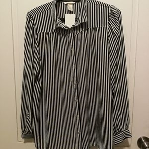 H&M Black and White Striped Button Up Shirt